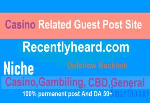 I will do Do-follow standard guest post on Recentlyheard